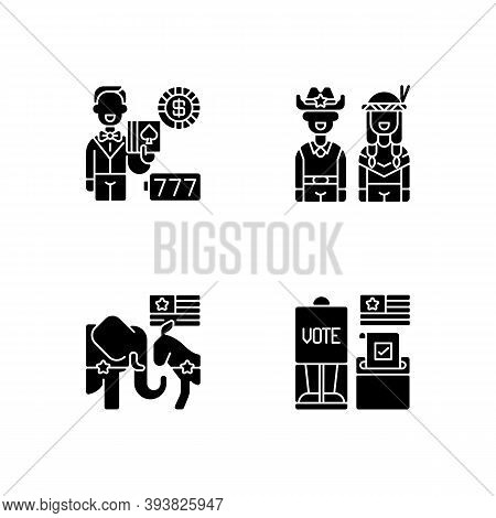 United States Black Glyph Icons Set On White Space. Casino. Wild West. Democrats Vs. Republicans. Vo