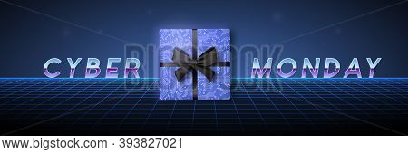 Cyber Monday Design In Futuristic Style. Horizontal Banner With Landscape Grid, Gift Box And Text Fo