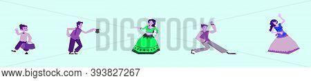Gypsy Boy And Girls Dance In Lush Beautiful Skirts. Traditional Gypsy Dancer. Modern Cartoon Icon De