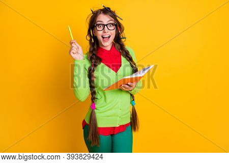 Portrait Of Attractive Excited Brainy Genius Cheerful Teenage Girl Writing Essay Solution Isolated O