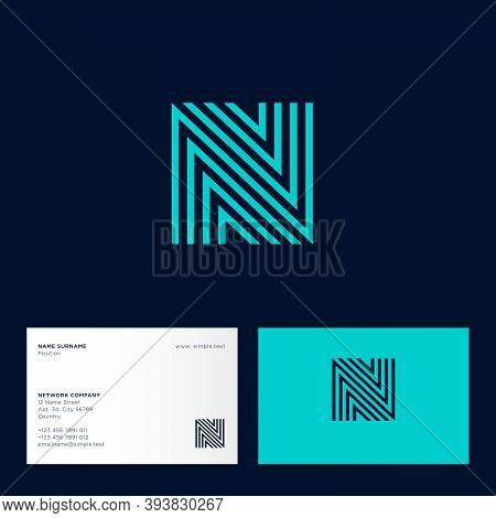 N Letter. Logo Consist Of Some Lines. N Blue Monogram, Isolated On A Different Backgrounds. Business