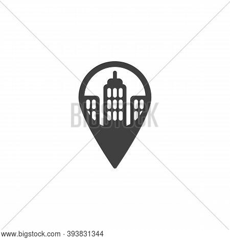 Office Place Location Vector Icon. Filled Flat Sign For Mobile Concept And Web Design. Gps Marker Wi