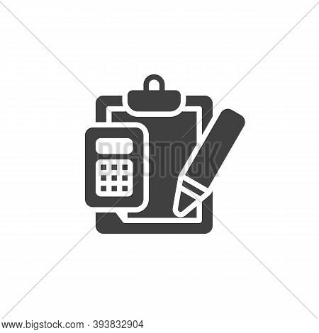 Financial Accounting Vector Icon. Calculator With Document And Pencil Filled Flat Sign For Mobile Co