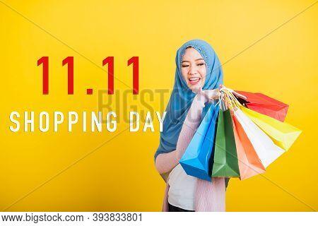 Asian Muslim Arab, Portrait Of Happy Beautiful Young Woman Islam Religious Wear Veil Hijab Funny Smi