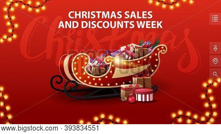 Christmas Sales And Discounts Week, Red Banner With In Minimalistic Style With Garland And Santa Sle