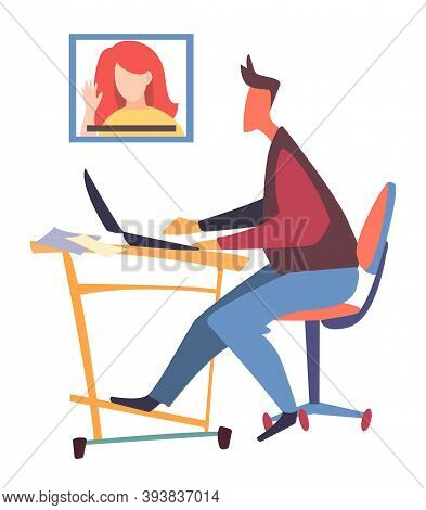 Isolated At White Man Office Worker Sitting At Table, Using Laptop, Talking Through Videocall With C