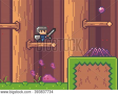 Pixel Game Interface, Characters. Agressive Mobs, Monsters. Spider And Slime Attack Man With Sword A