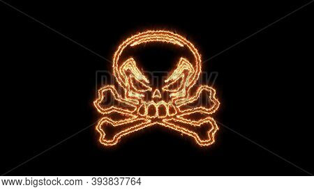 Fire Burning Skull. Devilish Skull Burning Hell With Scary, Halloween, Horror Concept. Royalty High-