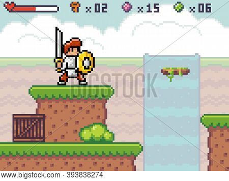 Pixel Game Interface. Outdoors, Waterfall At Background. Knight Wear Armor Standing Near Abyss, Unst