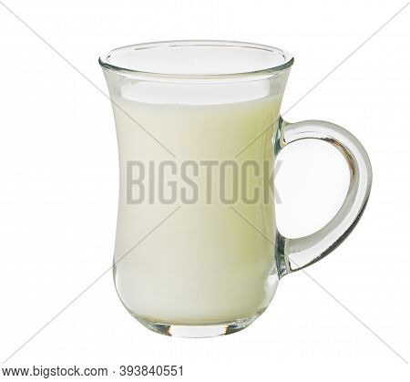 Transparent Glass Cup With Milk Isolated On White Background