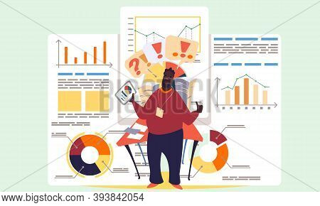 Project Management And Financial Report Strategy. Business Analysis Planning. Man Office Worker Anal