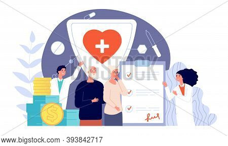 Health Medical Insurance. Healthcare Policy, Protect Patient For Money. Life Security, Doctors Suppo