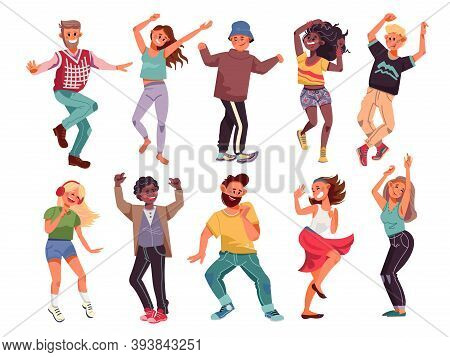 Dancing People. Happy Cartoon Teens, Young Modern Person Dance. Fun Music Party, Isolated Group Of A