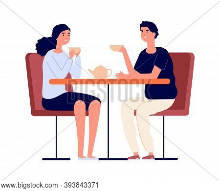 Couple On Dating. Man Woman Drink Tea And Conversation. Friends Meeting, Girl Boy In Love In Cafe Or