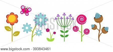 Flat Flowers Border. Colorful Abstract Floral Elements, Decorative Children Plants Vector Clipart. F