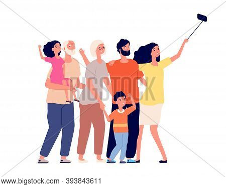 Happy Family Selfie. Cheerful People Portrait, Take Photo On Phone. Cartoon Woman Daughter Grandfath