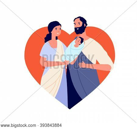 Holy Bible Family. Little Jesus Christ, Biblical Story Parent With Baby Character. Cartoon God Birth