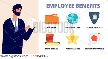 Employee Benefits. Office Character, Professional Holding List Wellbeing Workers. Job Perks, Utter C