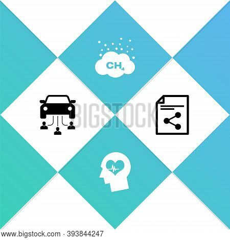 Set Car Sharing, Head With Heartbeat, Methane Emissions Reduction And Share File Icon. Vector