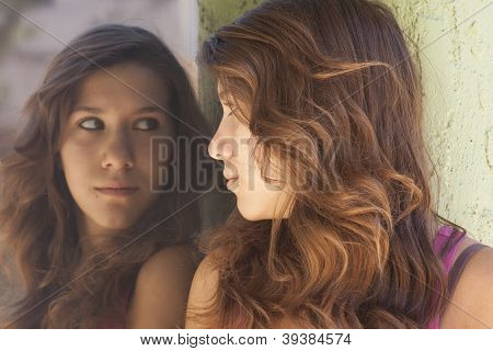 Girl Looking into a window