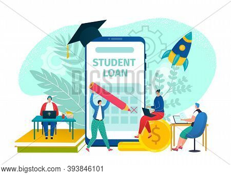 Student Finance Loan, Money Debt Concept Vector Illustration. Flat Education In University, College