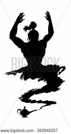 Arabic Genie Lamp Black Silhouette Isolated On White Background. Outline Of Figure Of Hero Of Easter