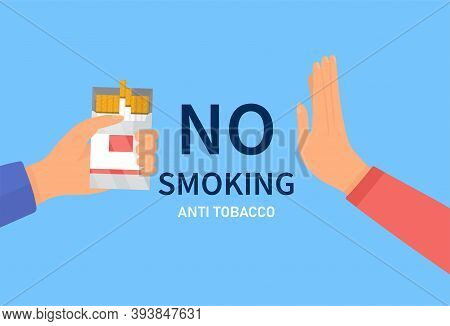 No Smoking Concept. Stop Smoking Concept. Persons Hand Refusing Cigarette From The Box. Quit Bad Hab