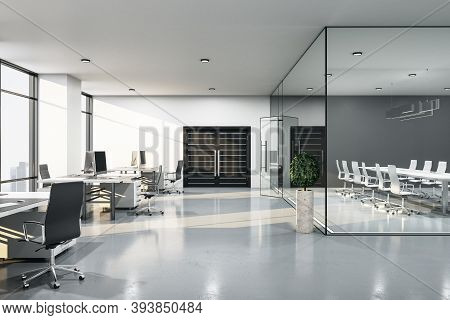 Contemporary Meeting Loft Room With Meeting Table And Glass Wall. Seminar And Conference Concept. 3d
