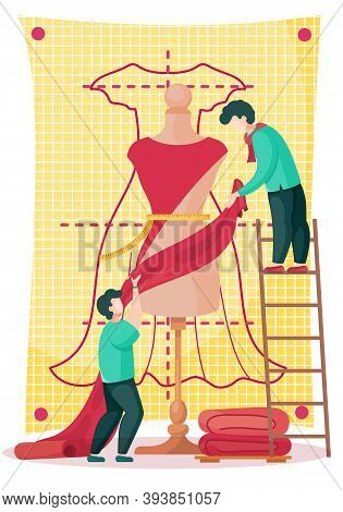 Two Men Hold A Red Cloth And Put It On A Mannequin To Create A Dress. Seamstresses Are Working On A