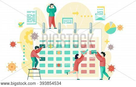 Businesspeople Are Communicating Near Calendar. Office Characters Near Calendar And Virus And Bacter
