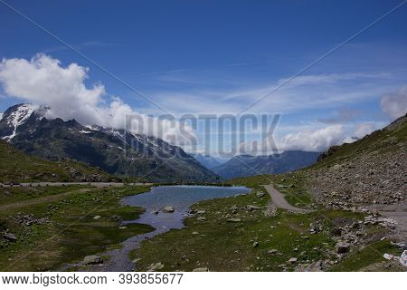 Lake At The Top Of The Alpine Pass Susten