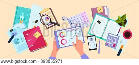 Financial Audit Or Tax Report Vector Business Illustration With Hands,documents, Graphs, Calculator.