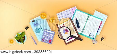 Financial Audit Business Vector Illustration With Flat Lay Documents,magnifier, Calculator, Glasses.