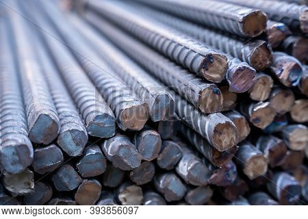 Steel Rebar For Reinforcement Concrete In The Construction Site