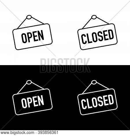 Open And Closed Sign Boards. Open Or Closed Sign Board, Isolated. Open And Closed Concept In Modern