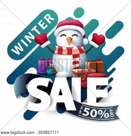 Winter Sale, Up To 50 Off, Discount Pop Up For Website In Lava Lamp Style With Large Letters, Blue R