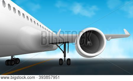 3d Big Plane Engine Parked On Airport