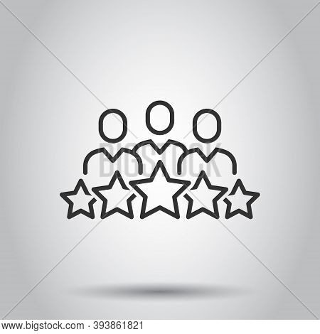 People With Stars Icon In Flat Style. Businessman Rating Vector Illustration On White Isolated Backg