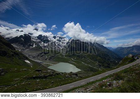 Panorama At The Summit Of The Alpine Pass Susten