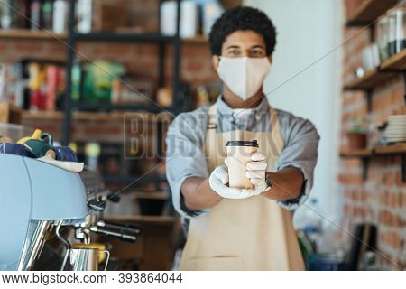 Bar Owner Works Only With Take Away Orders During Corona Virus Outbreak, Healthcare And Food Drink C