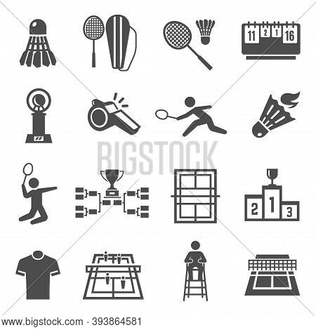 Badminton Racquet, Shuttlecock, Court Bold Black Silhouette Icons Set Isolated On White.