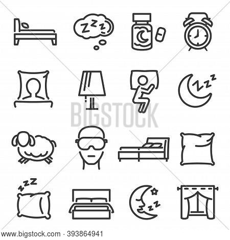 Sleep, Dream, Bed Linear Icons Set Isolated On White. Nap, Eye Mask, Pillow, Moon Outline Pictograms