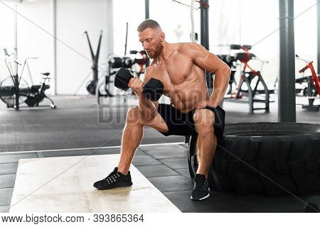 Gym Athlete Bicep Exercise Dumbbell Muscular Man Sit Wheel Holding Lift Barbell. Functional Cross Tr