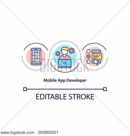Mobile App Developer Concept Icon. Software Engineer. Person Create Applications. Programmer Idea Th