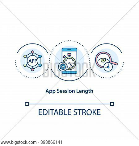 App Session Length Concept Icon. Amount Of Time Apps Experience. Duration Using Application Idea Thi