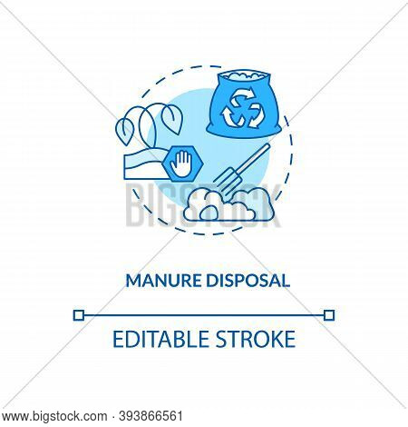 Manure Disposal Turquoise Concept Icon. Waste Recycle. Bio Compost. Biodegradable Garbage. Soil Fert