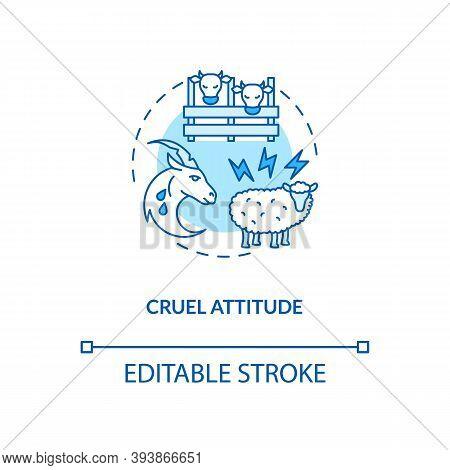 Cruel Attitude Turquoise Concept Icon. Livestock Abuse. Harm Farm Cattle. Agriculture Production. Da
