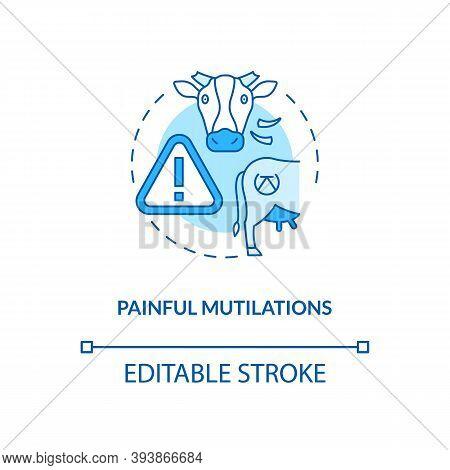 Painful Mutilation Turquoise Concept Icon. Animal Cruelty. Farm Livestock Abuse. Bovine Excision. Ca