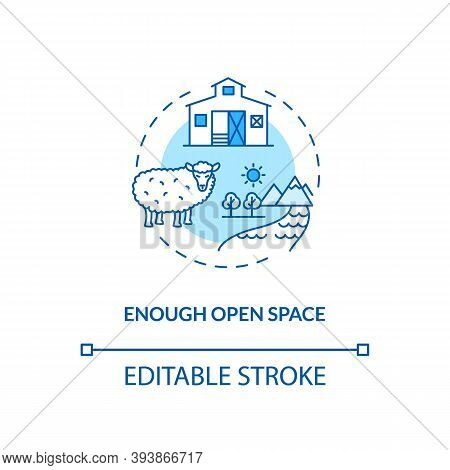 Enough Open Space Turquoise Concept Icon. Farm Livestock Care. Sheep Health. Lamb On Farmland. Anima