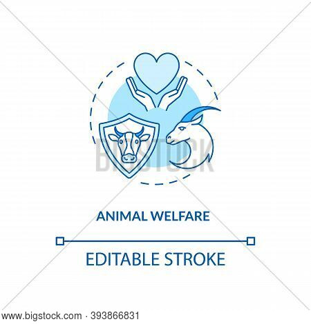 Animal Welfare Turquoise Concept Icon. Ranch Livestock Health. Veterinary Care. Cow, Goat Wellbeing.